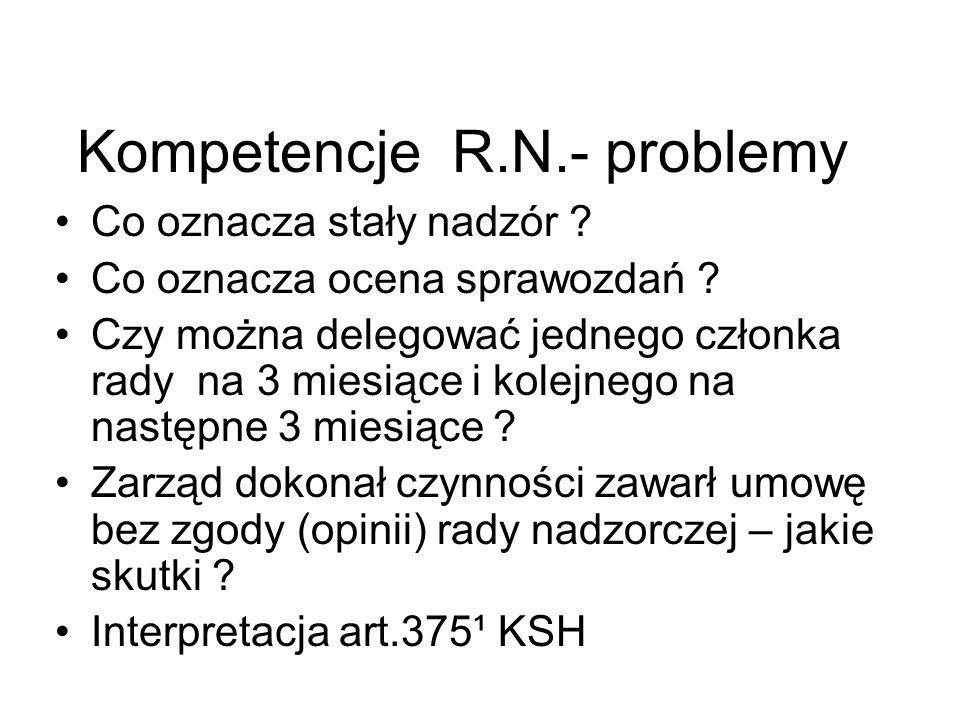 Kompetencje R.N.- problemy Co oznacza stały nadzór ? Co oznacza ocena sprawozdań ? Czy można delegować jednego członka rady na 3 miesiące i kolejnego