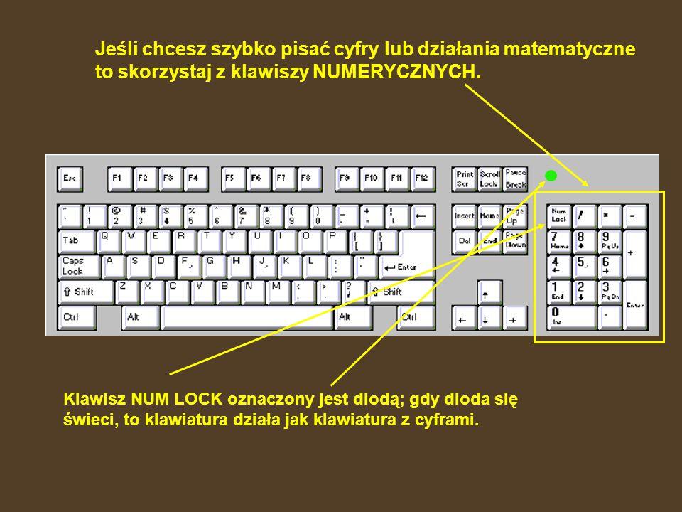 SPACJA – służy do robienia odstępów między znakami i wyrazami. To największy klawisz na klawiaturze.