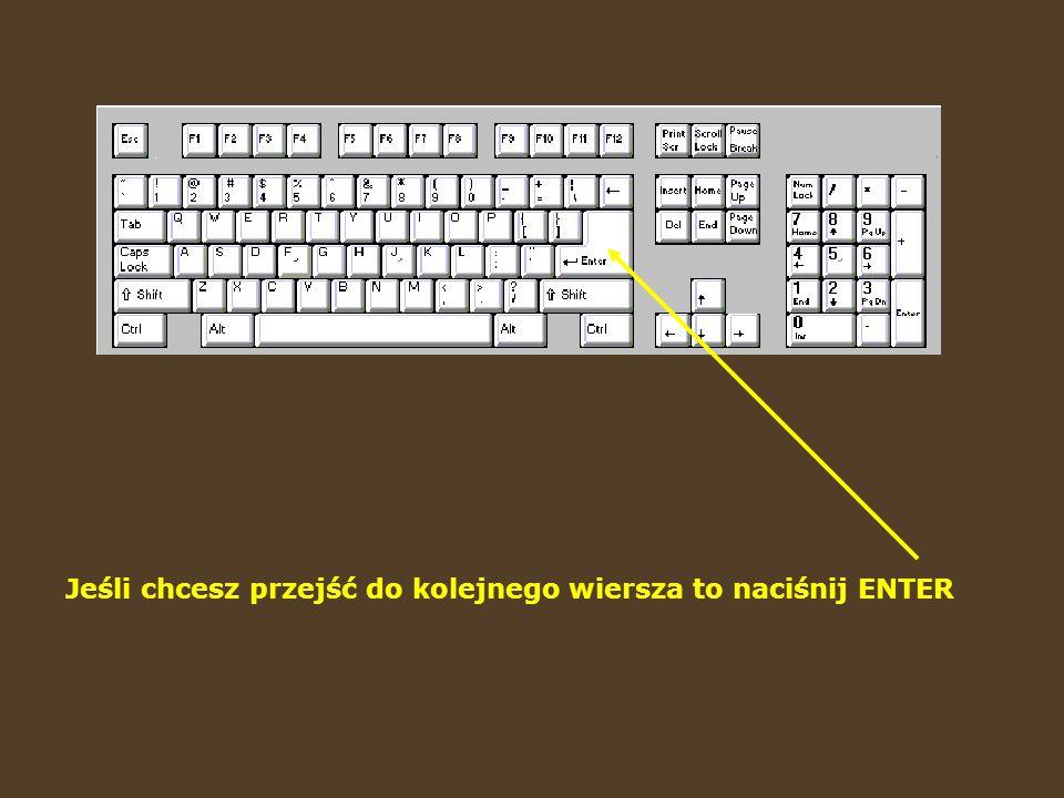 Wciskając SHIFT otrzymujemy duże litery. Wciśnięcie go razem z klawiszem, na którym znajdują się dwa znaki, powoduje wpisanie górnego z nich.