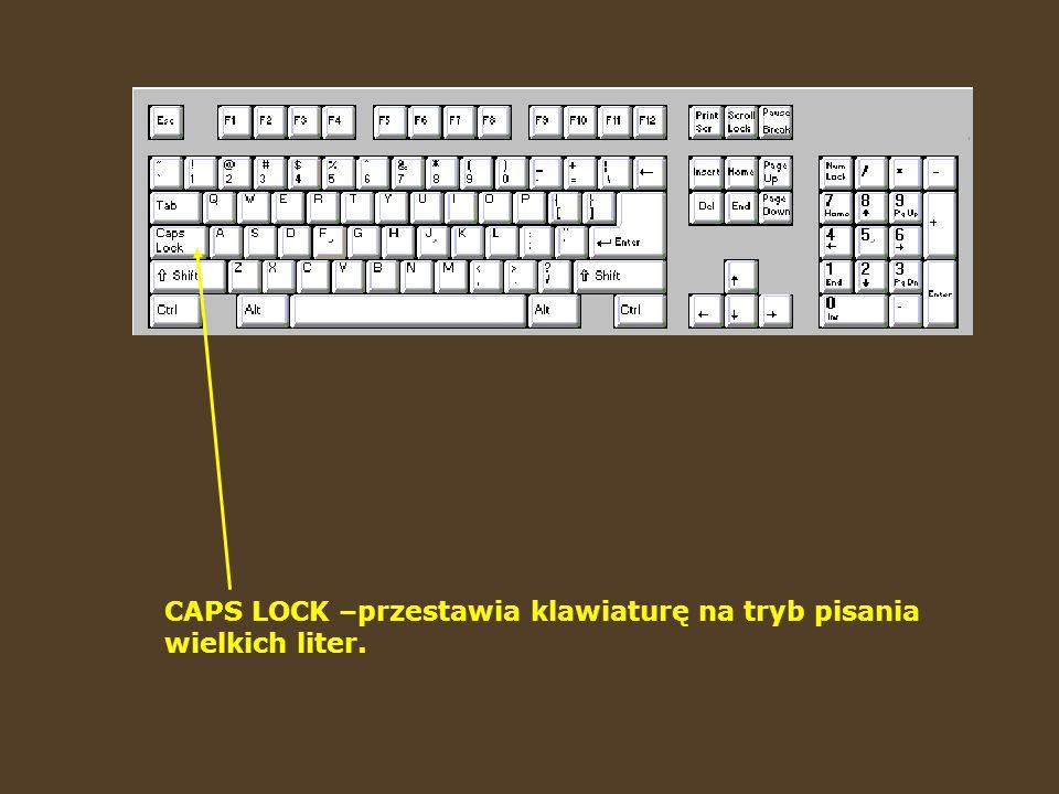 Klawisz BACKSPACE służy do usuwania litery (lub innego znaku). Czasami oznaczony jest tylko strzałką.