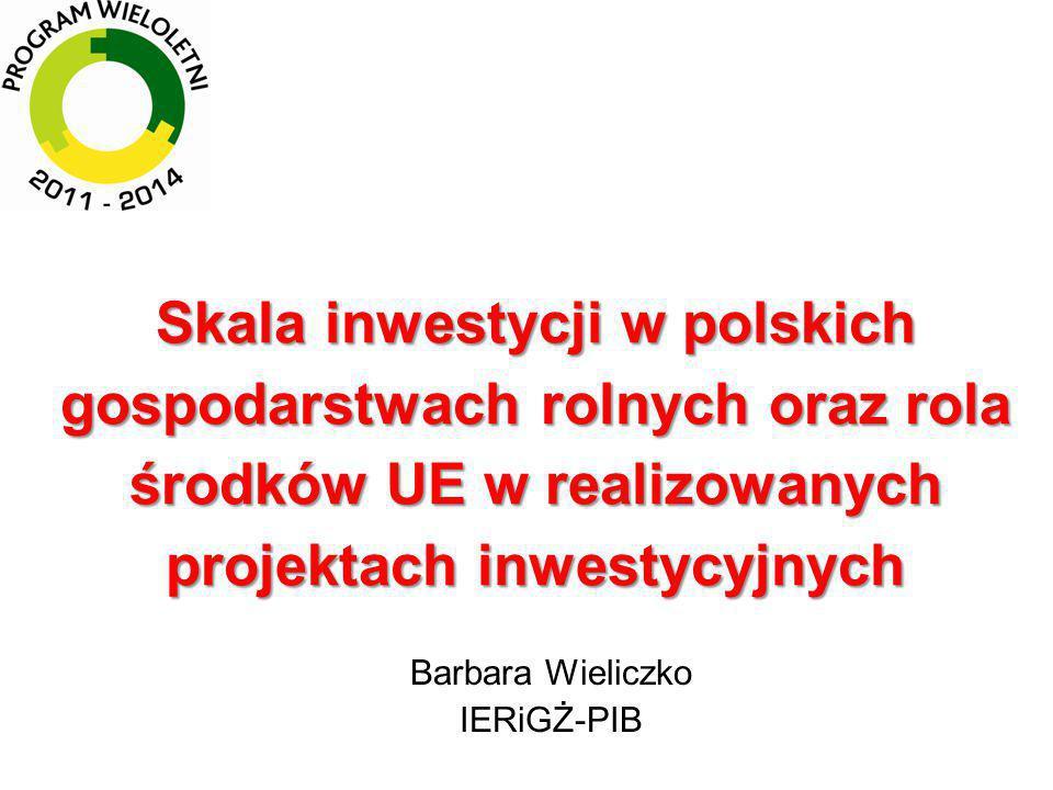 Uzyskane środki WPR na działania inwestycyjne w latach 2004-2013 na 1 ha UR