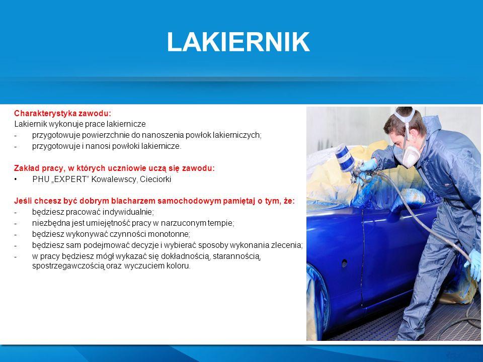 LAKIERNIK Charakterystyka zawodu: Lakiernik wykonuje prace lakiernicze -przygotowuje powierzchnie do nanoszenia powłok lakierniczych; -przygotowuje i