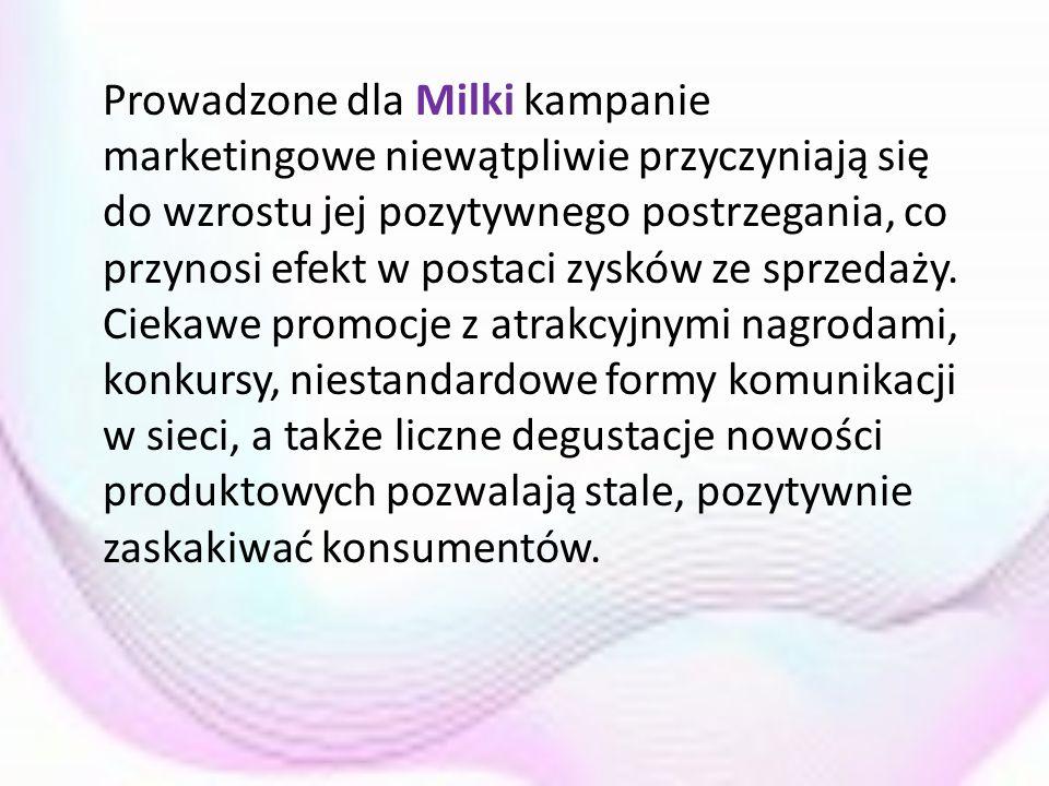 Prowadzone dla Milki kampanie marketingowe niewątpliwie przyczyniają się do wzrostu jej pozytywnego postrzegania, co przynosi efekt w postaci zysków z