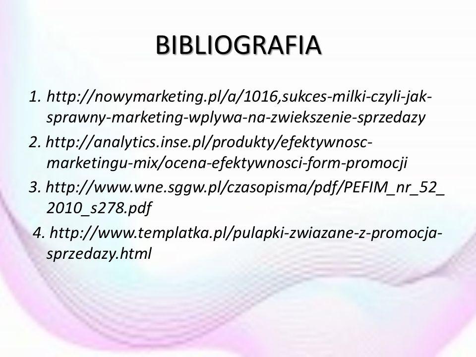 BIBLIOGRAFIA 1.http://nowymarketing.pl/a/1016,sukces-milki-czyli-jak- sprawny-marketing-wplywa-na-zwiekszenie-sprzedazy 2. http://analytics.inse.pl/pr