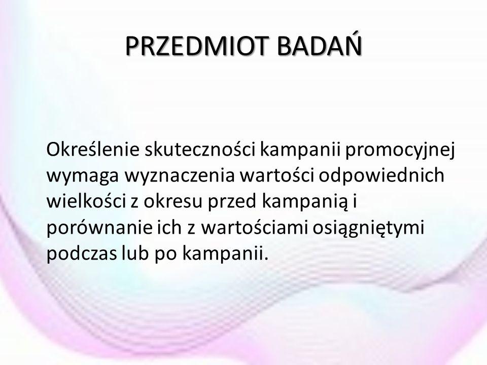 PRZEDMIOT BADAŃ Określenie skuteczności kampanii promocyjnej wymaga wyznaczenia wartości odpowiednich wielkości z okresu przed kampanią i porównanie i