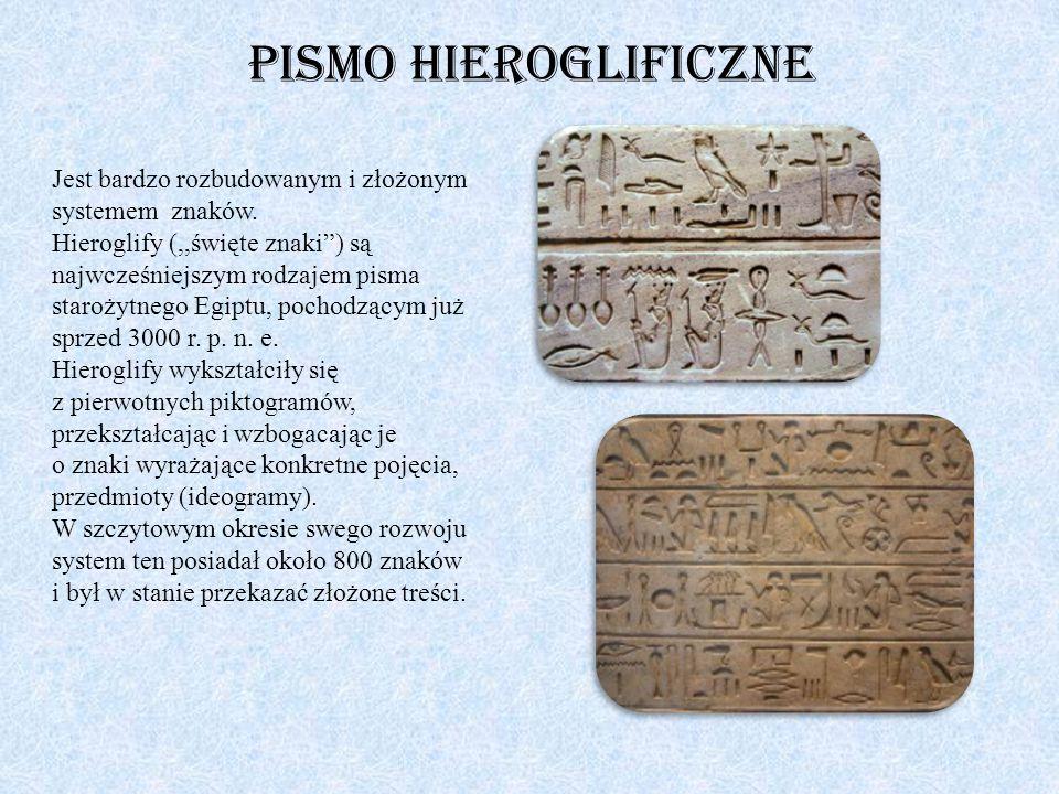 """Pismo hieroglificzne Jest bardzo rozbudowanym i złożonym systemem znaków. Hieroglify (,,święte znaki"""") są najwcześniejszym rodzajem pisma starożytnego"""