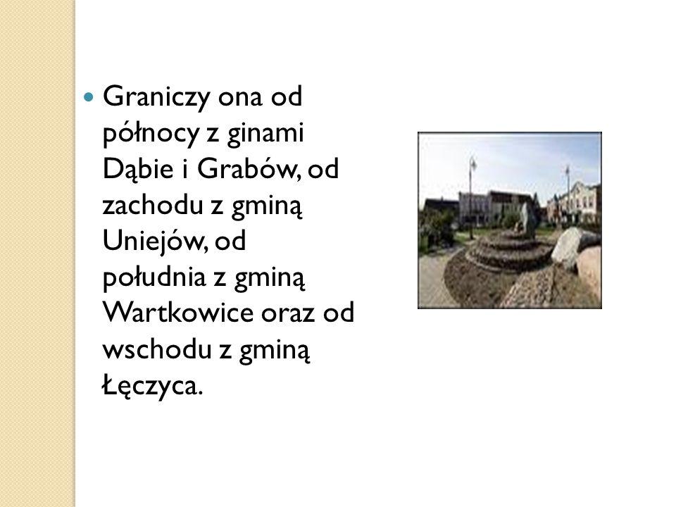 Graniczy ona od północy z ginami Dąbie i Grabów, od zachodu z gminą Uniejów, od południa z gminą Wartkowice oraz od wschodu z gminą Łęczyca.