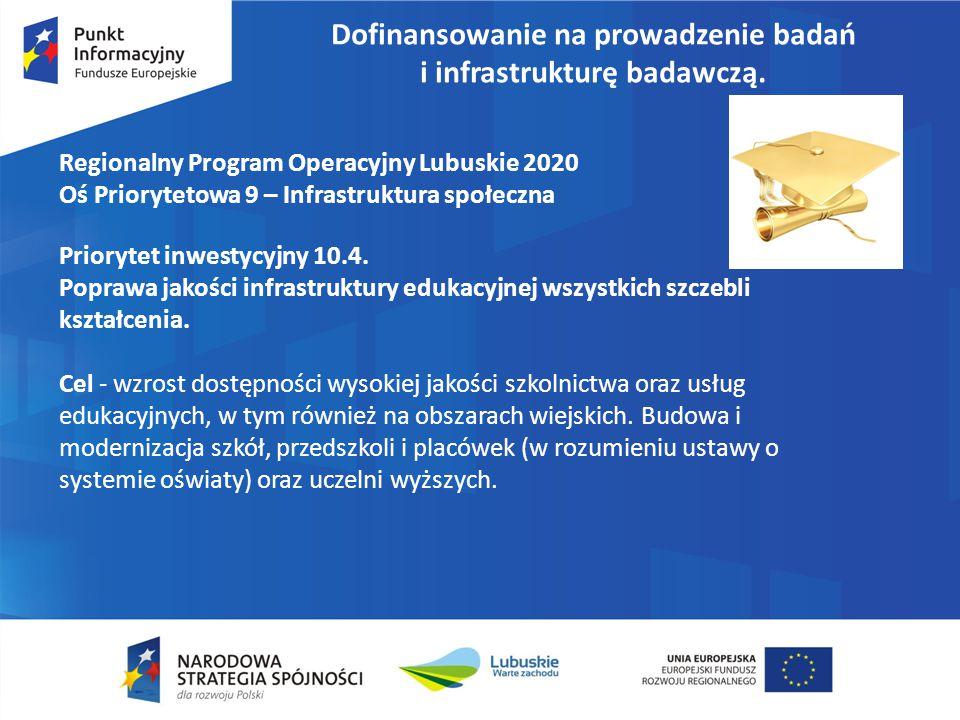 Dofinansowanie na prowadzenie badań i infrastrukturę badawczą. Regionalny Program Operacyjny Lubuskie 2020 Oś Priorytetowa 9 – Infrastruktura społeczn