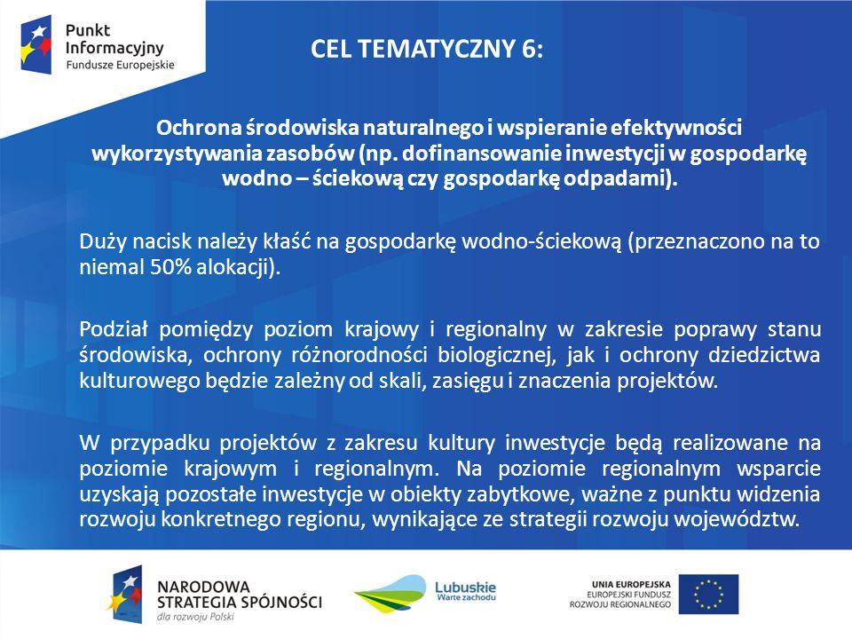 CEL TEMATYCZNY 6: Ochrona środowiska naturalnego i wspieranie efektywności wykorzystywania zasobów (np. dofinansowanie inwestycji w gospodarkę wodno –