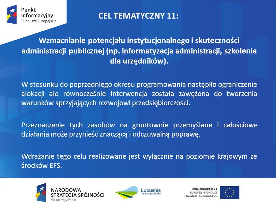 CEL TEMATYCZNY 11: Wzmacnianie potencjału instytucjonalnego i skuteczności administracji publicznej (np. informatyzacja administracji, szkolenia dla u