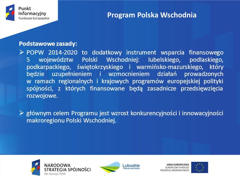 Program Polska Wschodnia Podstawowe zasady:  POPW 2014-2020 to dodatkowy instrument wsparcia finansowego 5 województw Polski Wschodniej: lubelskiego,