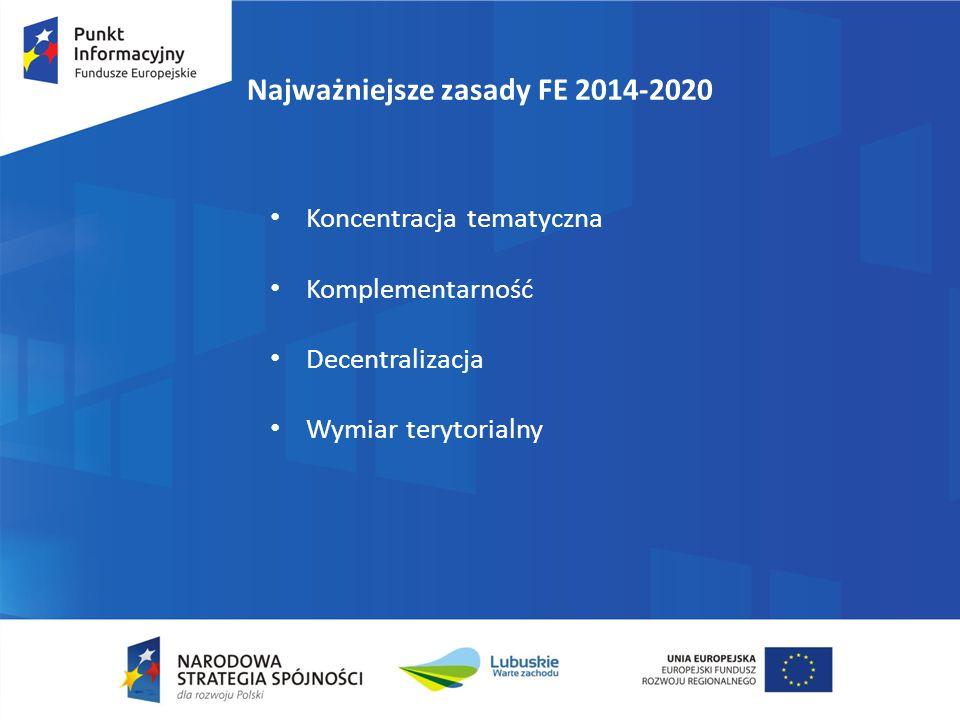 Najważniejsze zasady FE 2014-2020 Koncentracja tematyczna Komplementarność Decentralizacja Wymiar terytorialny