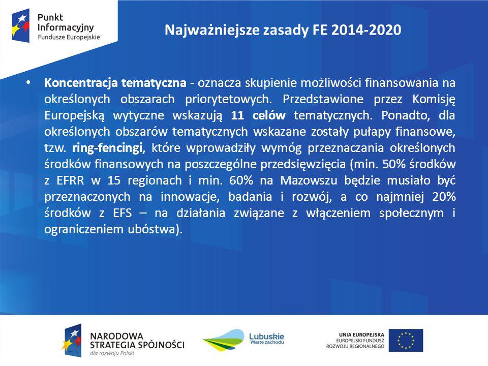 Najważniejsze zasady FE 2014-2020 Koncentracja tematyczna - oznacza skupienie możliwości finansowania na określonych obszarach priorytetowych. Przedst