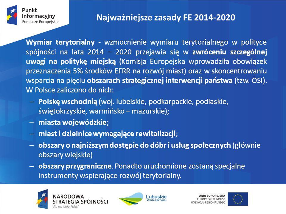 Najważniejsze zasady FE 2014-2020 Wymiar terytorialny - wzmocnienie wymiaru terytorialnego w polityce spójności na lata 2014 – 2020 przejawia się w zw