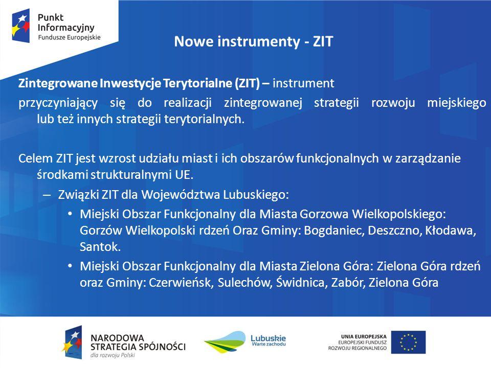 Nowe instrumenty - ZIT Zintegrowane Inwestycje Terytorialne (ZIT) – instrument przyczyniający się do realizacji zintegrowanej strategii rozwoju miejsk