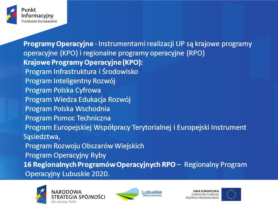 Programy Operacyjne - Instrumentami realizacji UP są krajowe programy operacyjne (KPO) i regionalne programy operacyjne (RPO) Krajowe Programy Operacy