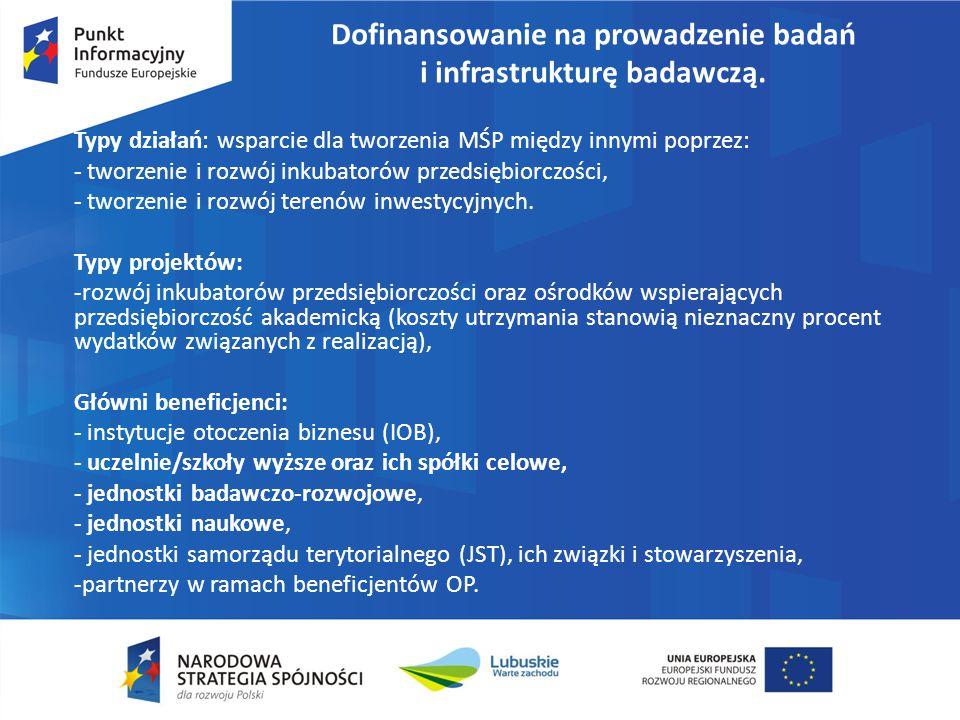 Dofinansowanie na prowadzenie badań i infrastrukturę badawczą. Typy działań: wsparcie dla tworzenia MŚP między innymi poprzez: - tworzenie i rozwój in