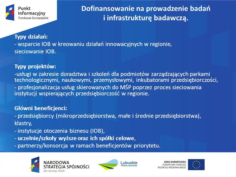 Dofinansowanie na prowadzenie badań i infrastrukturę badawczą. Typy działań: - wsparcie IOB w kreowaniu działań innowacyjnych w regionie, sieciowanie