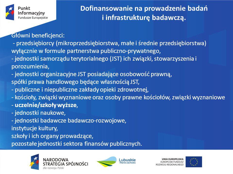 Dofinansowanie na prowadzenie badań i infrastrukturę badawczą. Główni beneficjenci: - przedsiębiorcy (mikroprzedsiębiorstwa, małe i średnie przedsiębi