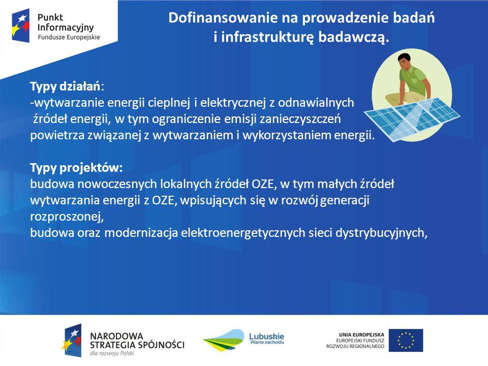 Dofinansowanie na prowadzenie badań i infrastrukturę badawczą. Typy działań: -wytwarzanie energii cieplnej i elektrycznej z odnawialnych źródeł energi