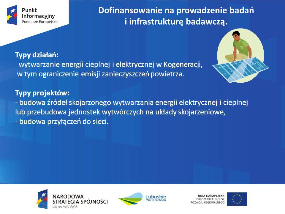 Dofinansowanie na prowadzenie badań i infrastrukturę badawczą. Typy działań: wytwarzanie energii cieplnej i elektrycznej w Kogeneracji, w tym ogranicz