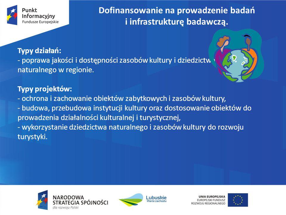 Dofinansowanie na prowadzenie badań i infrastrukturę badawczą. Typy działań: - poprawa jakości i dostępności zasobów kultury i dziedzictwa naturalnego