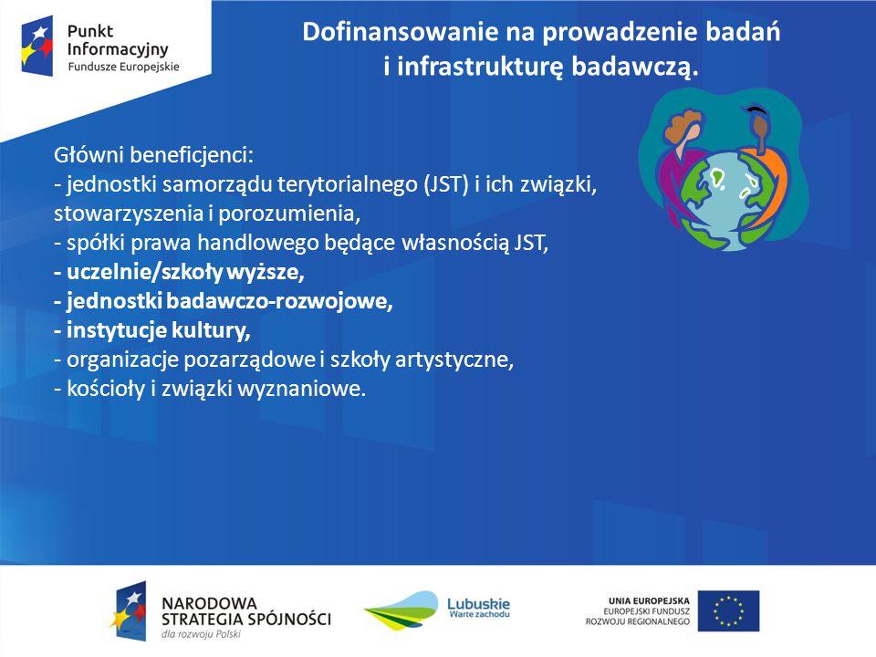 Dofinansowanie na prowadzenie badań i infrastrukturę badawczą. Główni beneficjenci: - jednostki samorządu terytorialnego (JST) i ich związki, stowarzy