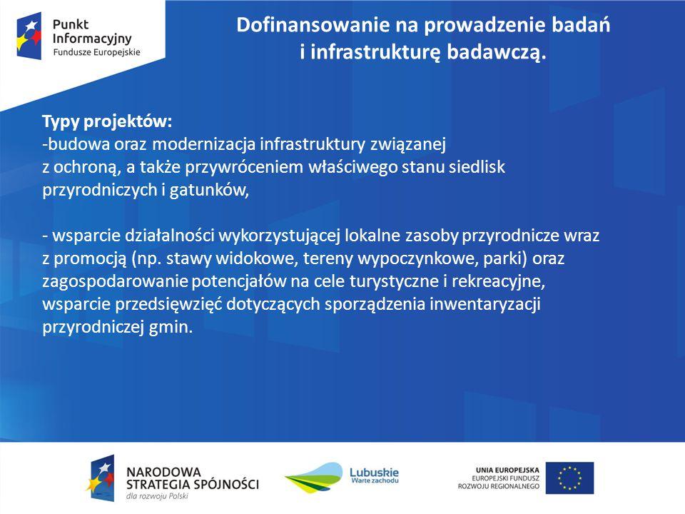 Dofinansowanie na prowadzenie badań i infrastrukturę badawczą. Typy projektów: -budowa oraz modernizacja infrastruktury związanej z ochroną, a także p