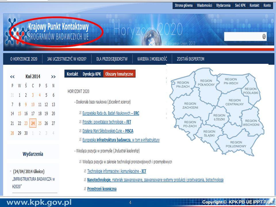 15 Copyright © KPK PB UE IPPT PAN Horyzont 2020 – struktura (w podziale budżetowym)