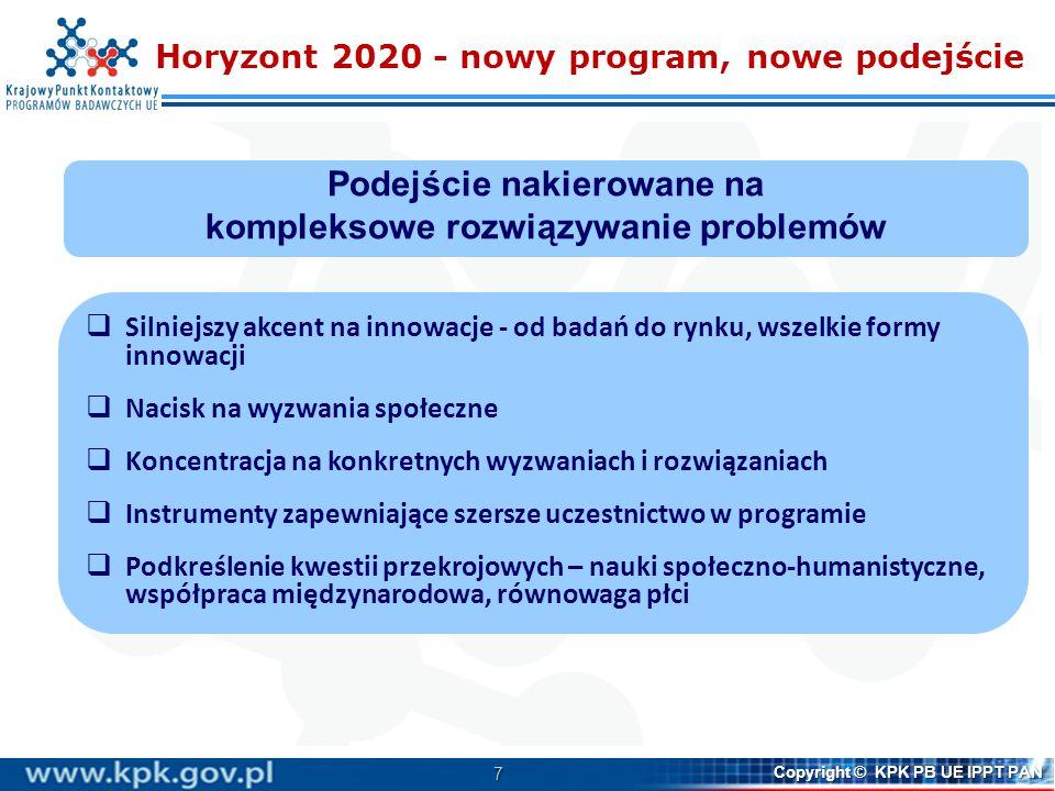 58 Copyright © KPK PB UE IPPT PAN Więcej informacji   Horyzont 2020 http://ec.europa.eu/research/horizon2020/index_en.cfm http://ec.europa.eu/research/horizon2020/index_en.cfm   Programy Pracy http://ec.europa.eu/research/participants/portal/desktop/en/opport unities/h2020/master_calls.html http://ec.europa.eu/research/participants/portal/desktop/en/opport unities/h2020/master_calls.html   Participant Portal http://ec.europa.eu/research/participants/portal/desktop/en/home.