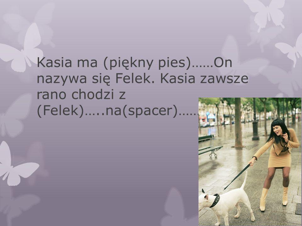 Kasia ma (piękny pies)……On nazywa się Felek. Kasia zawsze rano chodzi z (Felek)…..na(spacer)……