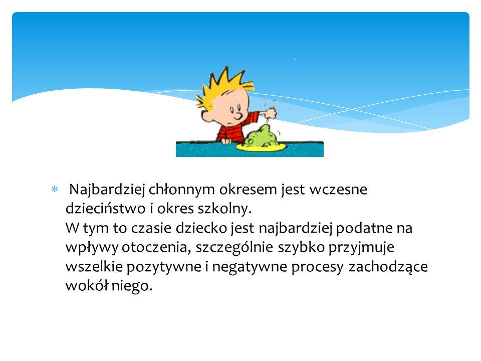  Najbardziej chłonnym okresem jest wczesne dzieciństwo i okres szkolny.