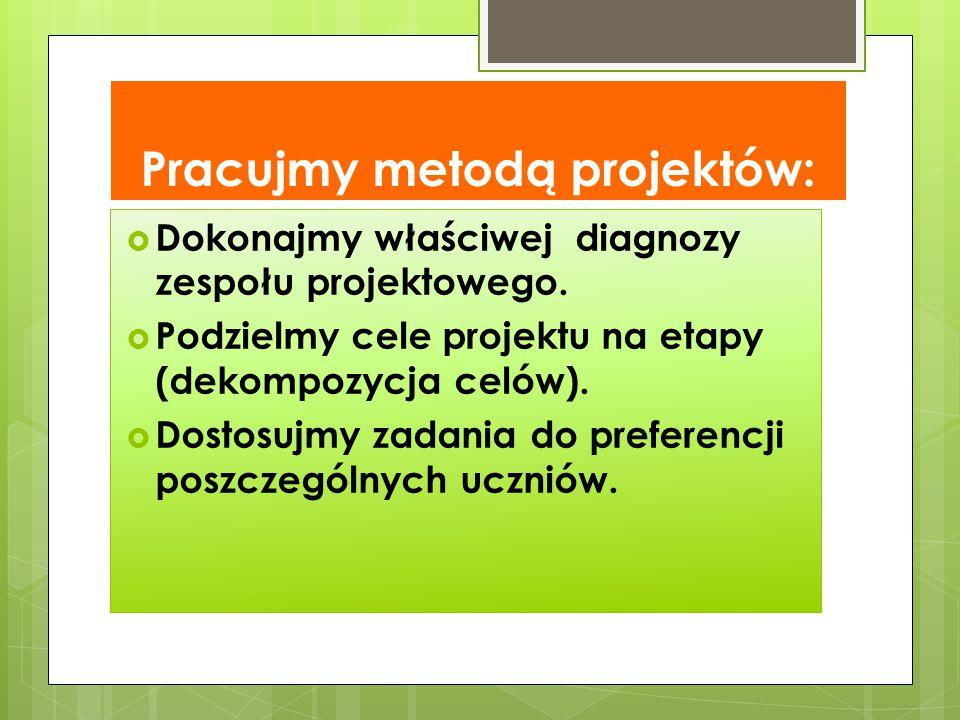 Pracujmy metodą projektów:  Dokonajmy właściwej diagnozy zespołu projektowego.  Podzielmy cele projektu na etapy (dekompozycja celów).  Dostosujmy