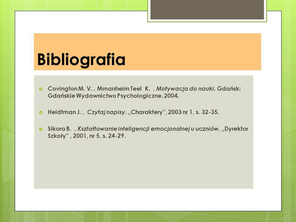Bibliografia  Covington M. V., Mmanheim Teel K., Motywacja do nauki. Gdańsk: Gdańskie Wydawnictwo Psychologiczne, 2004.  Heidtman J., Czytaj napisy.
