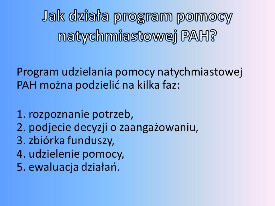Program udzielania pomocy natychmiastowej PAH można podzielić na kilka faz: 1. rozpoznanie potrzeb, 2. podjecie decyzji o zaangażowaniu, 3. zbiórka fu