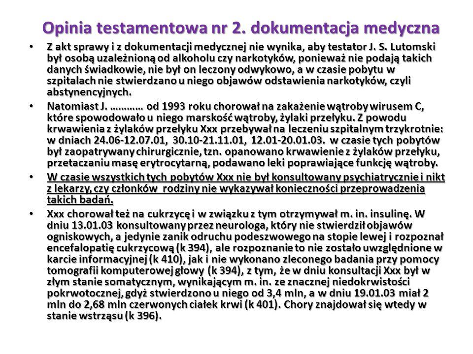 Z akt sprawy i z dokumentacji medycznej nie wynika, aby testator J. S. Lutomski był osobą uzależnioną od alkoholu czy narkotyków, ponieważ nie podają