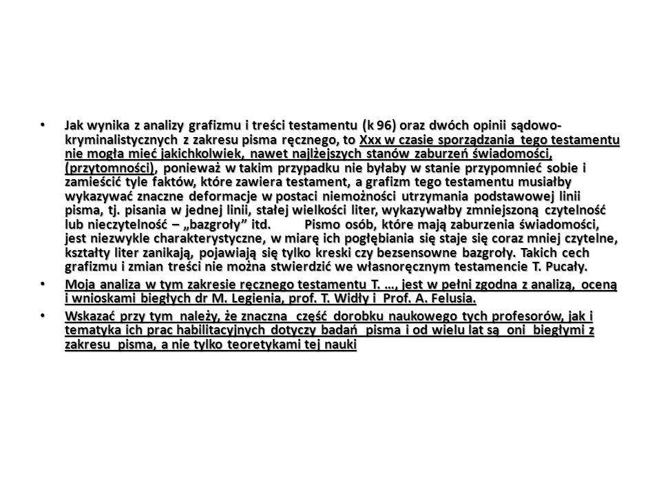 Jak wynika z analizy grafizmu i treści testamentu (k 96) oraz dwóch opinii sądowo- kryminalistycznych z zakresu pisma ręcznego, to Xxx w czasie sporzą