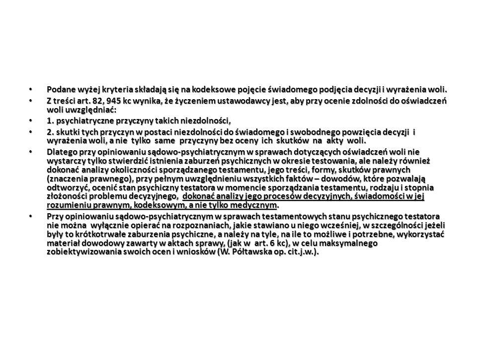 Podane wyżej kryteria składają się na kodeksowe pojęcie świadomego podjęcia decyzji i wyrażenia woli. Podane wyżej kryteria składają się na kodeksowe