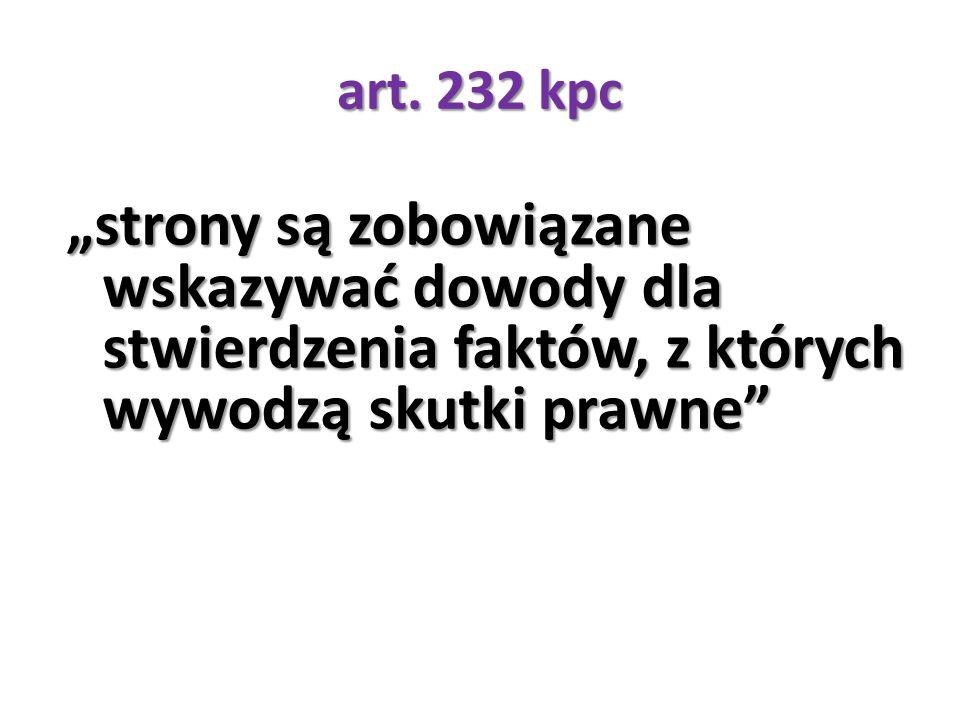 """art. 232 kpc """"strony są zobowiązane wskazywać dowody dla stwierdzenia faktów, z których wywodzą skutki prawne"""""""