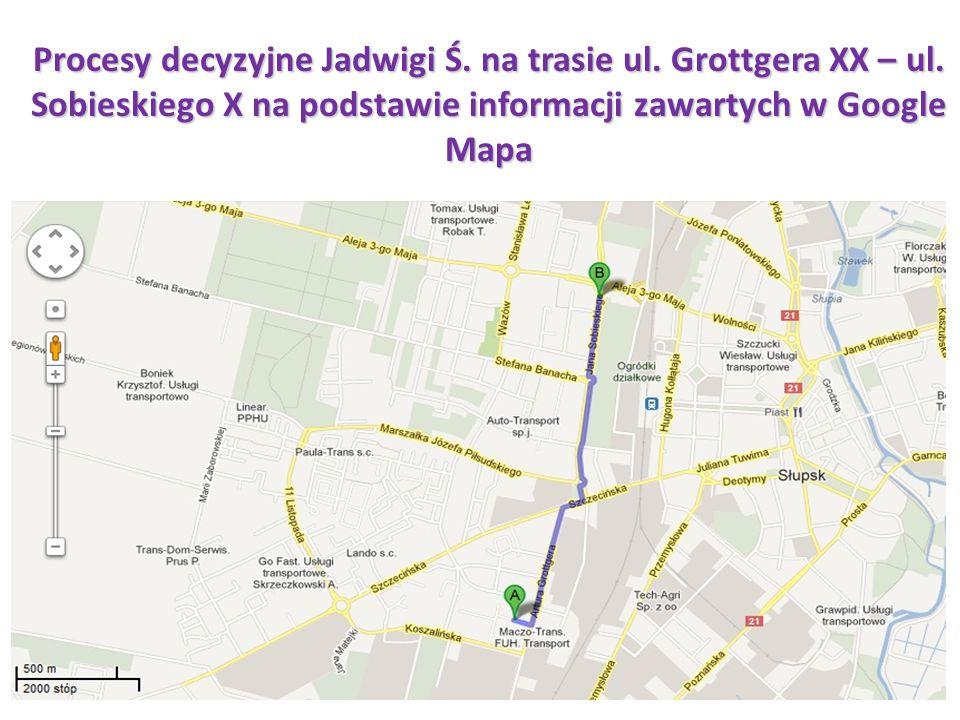 Procesy decyzyjne Jadwigi Ś. na trasie ul. Grottgera XX – ul. Sobieskiego X na podstawie informacji zawartych w Google Mapa