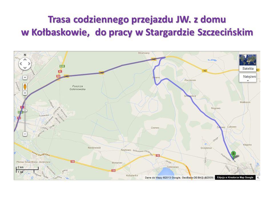 Trasa codziennego przejazdu JW. z domu w Kołbaskowie, do pracy w Stargardzie Szczecińskim