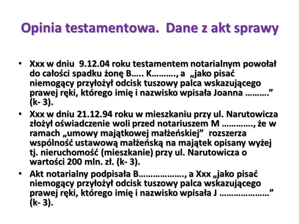"""Opinia testamentowa. Dane z akt sprawy Xxx w dniu 9.12.04 roku testamentem notarialnym powołał do całości spadku żonę B….. K………., a """"jako pisać niemog"""