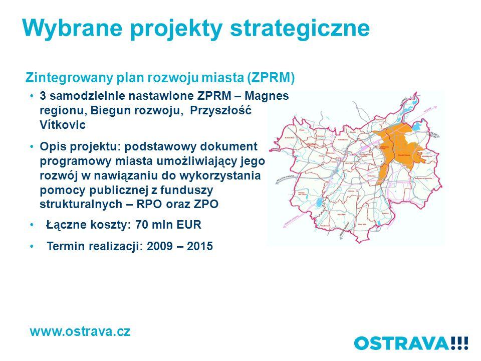 Wybrane projekty strategiczne Zintegrowany plan rozwoju miasta (ZPRM) www.ostrava.cz 3 samodzielnie nastawione ZPRM – Magnes regionu, Biegun rozwoju,