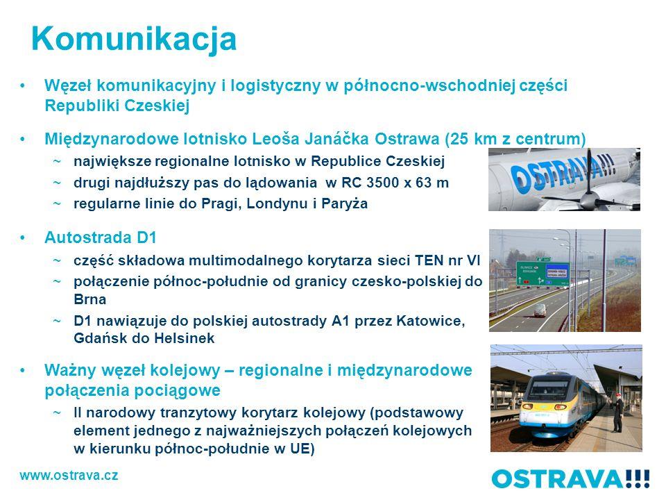 Komunikacja Węzeł komunikacyjny i logistyczny w północno-wschodniej części Republiki Czeskiej Międzynarodowe lotnisko Leoša Janáčka Ostrawa (25 km z c