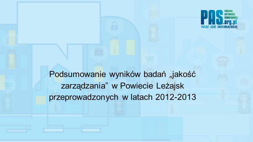"""Podsumowanie wyników badań """"jakość zarządzania w Powiecie Leżajsk przeprowadzonych w latach 2012-2013"""