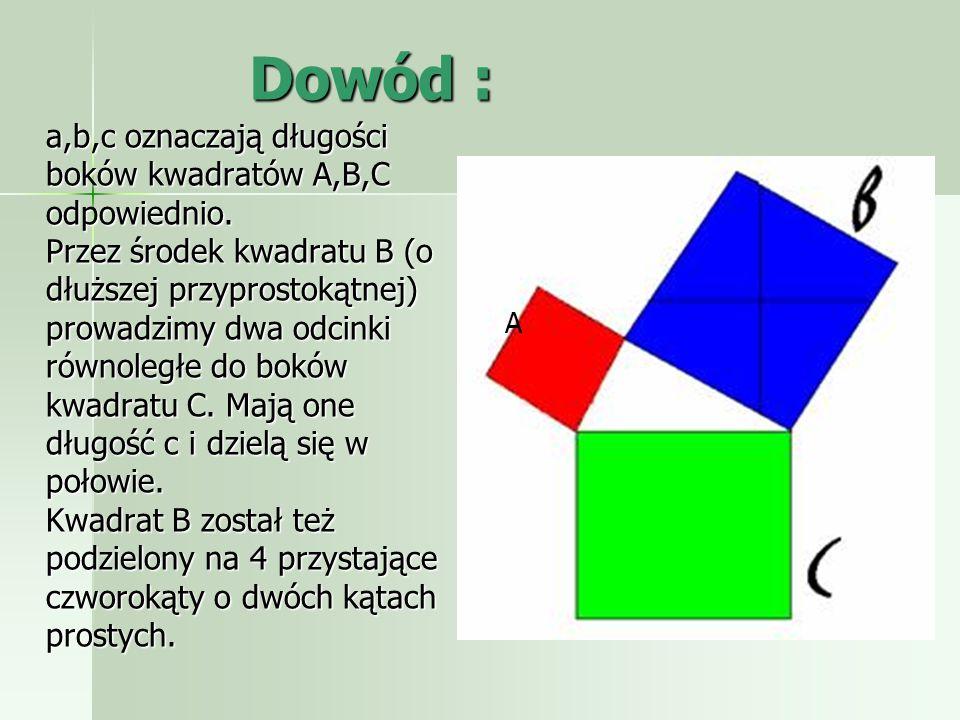 Dowody: Liczba różnych dowodów twierdzenia Pitagorasa jest przytłaczająca, według niektórych źródeł przekracza 350.