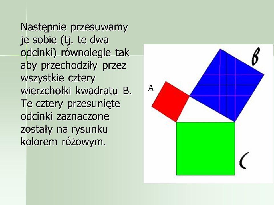 a,b,c oznaczają długości boków kwadratów A,B,C odpowiednio. Przez środek kwadratu B (o dłuższej przyprostokątnej) prowadzimy dwa odcinki równoległe do
