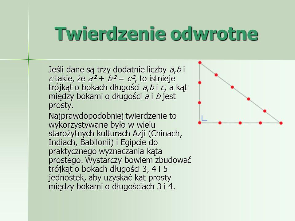 Dowód przez podobieństwo Jest to jeden z dowodów podanych przez Euklidesa, wykorzystuje on podobieństwo trójkątów. Zauważmy, że na rysunku obok trójką