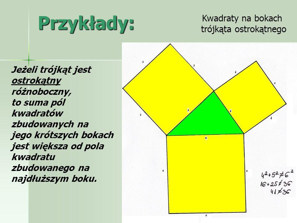 Uogólnienie Jeśli zbuduje się figury podobne na bokach trójkąta prostokątnego, to suma pól powierzchni dwóch mniejszych będzie równa polu powierzchni największej figury.