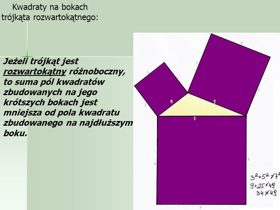 Przykłady: Kwadraty na bokach trójkąta ostrokątnego Jeżeli trójkąt jest ostrokątny różnoboczny, to suma pól kwadratów zbudowanych na jego krótszych bokach jest większa od pola kwadratu zbudowanego na najdłuższym boku.